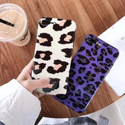 Zxtrby Cartoon Leopard Phone Case For IPhone X IPhone XS MAX XR 7 8 6 6s Plus Cute Fashion Glossy Soft IMD Mobile Back Cover