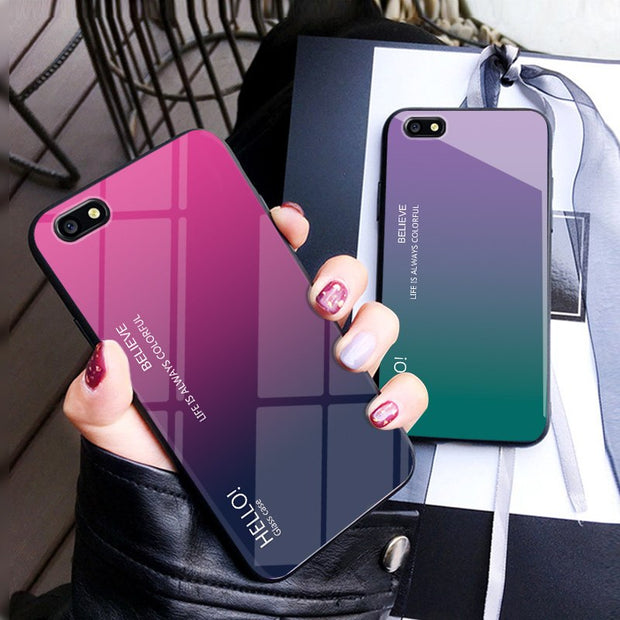 Zxtrby Gradient Tempered Glass Phone Cases For OPPO F3 A77 Soft Silicone Edge Cover Mobile Back Cover Luxury Glossy