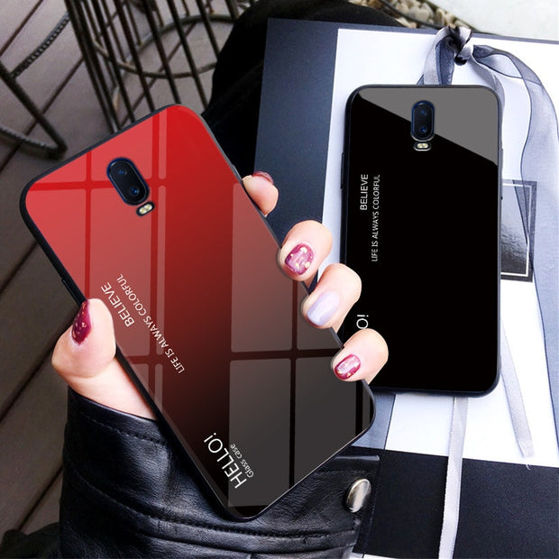 Zxtrby Gradient Tempered Glass Phone Cases For Oneplus 6T Soft Silicone Edge Cover Mobile Back Cover Luxury Glossy