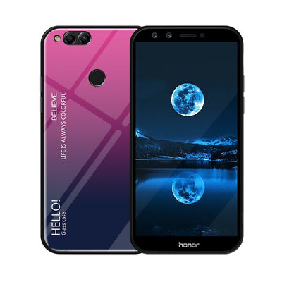 Zxtrby Gradient Tempered Glass Phone Case For Huawei Honor 7X Soft Silicone Edge Cover Mobile Back Cover Luxury Glossy