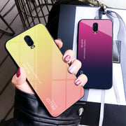 Zxtrby Gradient Tempered Glass Phone Case For Oneplus 6T Soft Silicone Edge Cover Mobile Back Cover Luxury Glossy