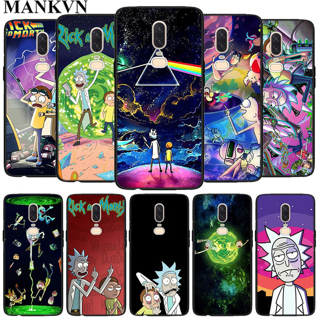 brand new a891e 017db Anime Rick And Morty Black Soft Silicone Cases Cover For Oneplus 6 6T 5T  Rubber TPU Back Phone Case