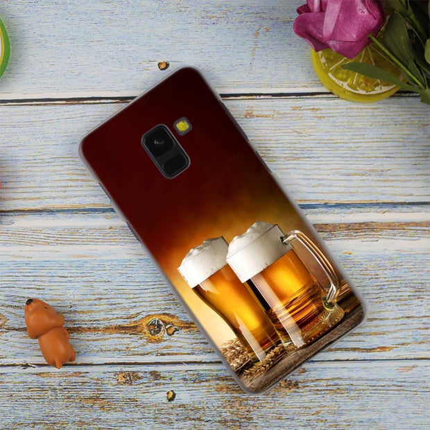 Beer Glass Hot Fashion Transparent Case For Samsung Galaxy A3 A5 A9 A7 A6 A8 Plus 2018 2017 2016 Star A6S Note 9 8 Cover