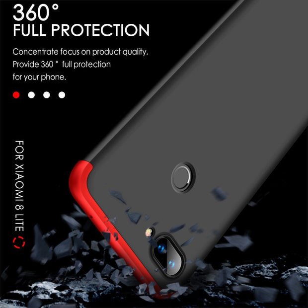 Case For Xiaomi Mi 8 Lite 3 IN 1 Design 360 Full Protection Hard PC Shockproof Case For Xiaomi 8 Mi8 Phone Cover Fundas Coque