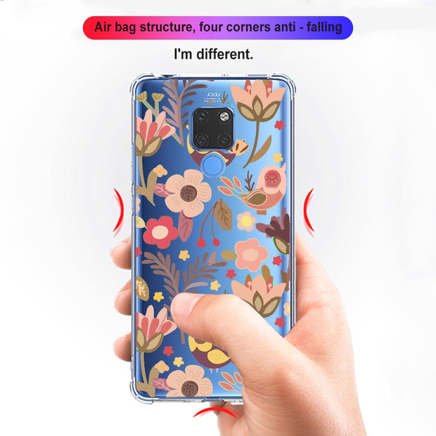 Ciciber Cute Animal Cat Flower Cover For Huawei Mate 20 Phone Case Drop Protection Transparent Silicone TPU Cover Fundas Coque