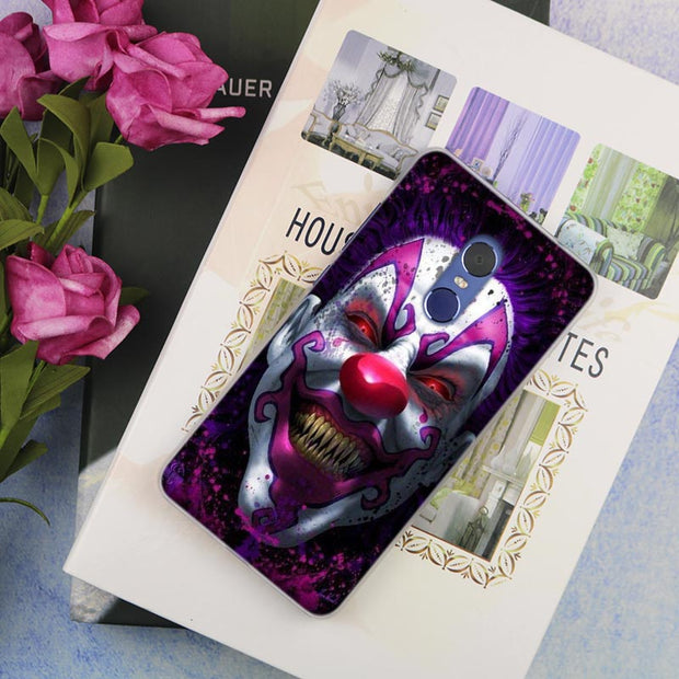 Clown Horror Evil Scary Clear Cover Case For Xiaomi Redmi 3 3S 6 Pro S2 4A 4X 5A 6A 5 Plus Note 5A Note 2 3 4 4X 5 6 Pro Mi 5x