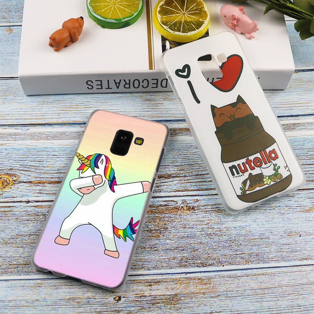 Colourful Unicorn Hot Fashion Transparent Case For Samsung Galaxy A3 A5 A9 A7 A6 A8 Plus 2018 2017 2016 Star A6S Note 9 8 Cover