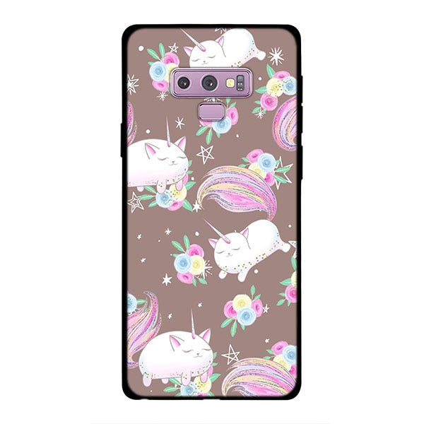 buy online 9f7e7 7353d Cute Unicorn Rainbow Unicorn Phone Case For Samsung Galaxy Note 9 8 S8 S9  Plus S7 Soft Silicone Black Case For Galaxy Note 9 8