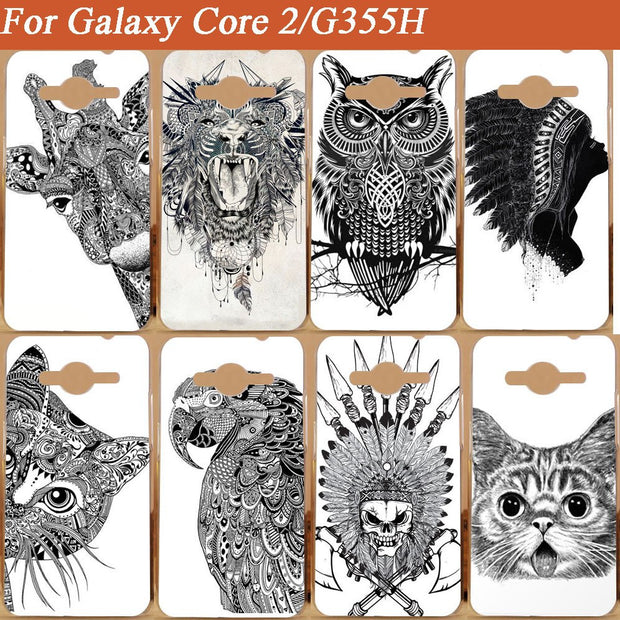Fashion Painting White And Black Animals Case FOR Samsung Galaxy Core 2 Dual SIM G355H Diy Colored Cover Case For Samsung G355h