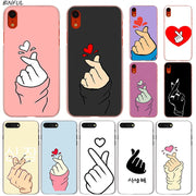 Finger Heart Hot Fashion Transparent Hard Phone Cover Case For IPhone X XS Max XR 8 7 6 6s Plus 5 SE 5C 4 4S
