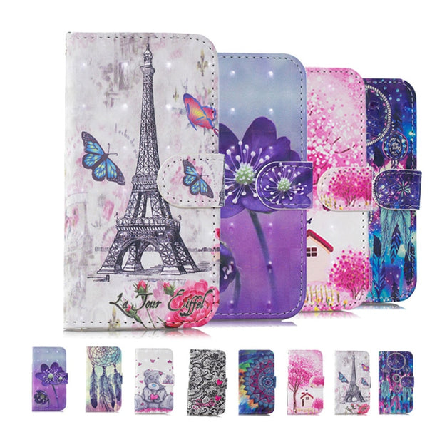 For Huawei P9 Lite PU Leather Cases For Huawei P9 Lite Luxury Lovely Pattern Cover Huawei P9 Lite Flip Bracket Wallet Phone Case