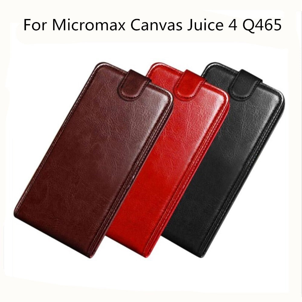new arrival a120f cd847 For Micromax Q465 Luxury PU Leather Back Cover Case For Micromax Canvas  Juice 4 Q465 Case Flip Protective Phone Bag