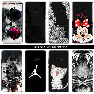 For Xiaomi Mi Note 2 Case Silicone Ultra Thin Soft TPU Rubber Flower Black Transparent Minnie Clear Back Cartoon Print Cover