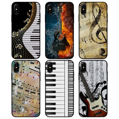 I Love Music Guitar Keys Piano Pattern Soft Silicone Black Phone Cases For Apple IPhone X XS XR XS MAX 6 6s 7 8 Plus 5S SE