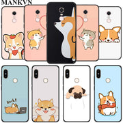 Kawaii Shiba Corgi Dog TPU Silicone Black Cases For Xiaomi Mi A1 A2 Lite Redmi 5 Plus 6 6A Note 6 Pro Soft Phone Case