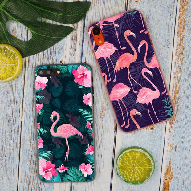 My Pink Flamingo Hot Fashion Transparent Hard Phone Cover Case For IPhone X XS Max XR 8 7 6 6s Plus 5 SE 5C 4 4S