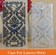 Painting Vintage Beautiful Flowers Cover Case For Lenovo S660 High Quality Black And White Flower Painted Case For Lenovo S660