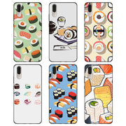 Pink Sushi Foodsushi Soft TPU Silicone Black Cases Cover For Huawei P10 P20 Lite P8 P9 Lite 2017 Mate 10 Lite P Smart