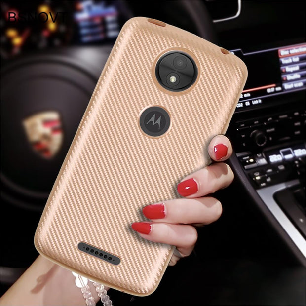 SFor Motorola Moto C Plus Case Cover Soft Carbon Fiber Slim TPU Phone Case For Motorola Moto C Plus Cover For Moto C Plus Fundas