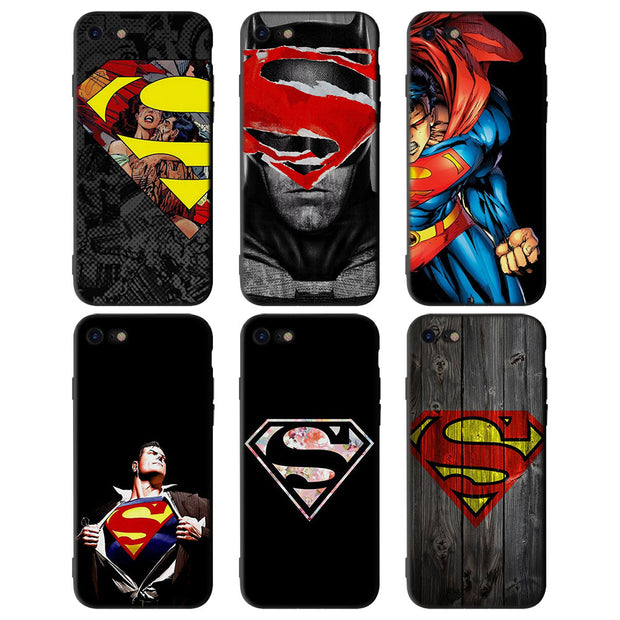 Superman Logo Pattern Soft Silicone Black Phone Cases For Apple Iphone Ferrum Cases
