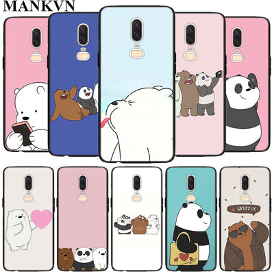 We Bare Bear Black Soft Silicone Cases Cover For Oneplus 6 6T 5T Rubber TPU Back Phone Case