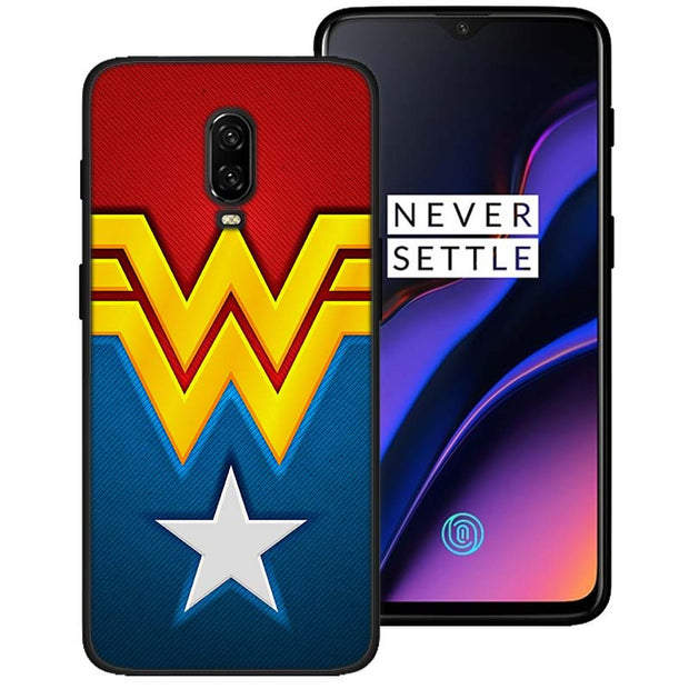 Wonder Woman Logo Black Soft Silicone Cases Cover For Oneplus 6 6T 5T Rubber TPU Back Phone Case