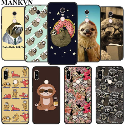 Yoga Sloth Rose TPU Silicone Black Cases For Xiaomi Mi A1 A2 Lite Redmi 5 Plus 6 6A Note 6 Pro Soft Phone Case