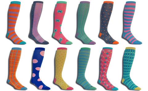 Men's Premium Stretch 12 Pack CottonPoly Over-The-Calf Dress Socks