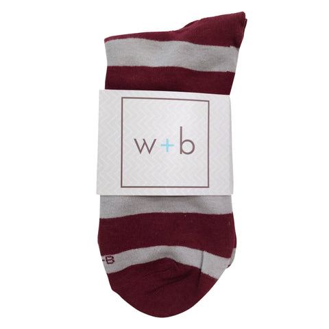 Men's Premium Stretch CottonPoly Over-The-Calf Beet + Gray Striped Dress Socks