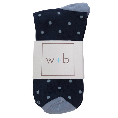 Men's Premium Stretch CottonPoly Over-The-Calf Navy + Powder Blue Polka Dot Dress Socks