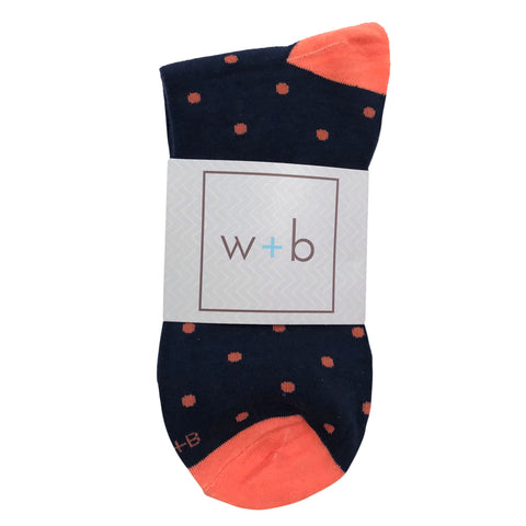 Men's Premium Stretch CottonPoly Over-The-Calf Coral + Navy Polka Dot Dress Socks