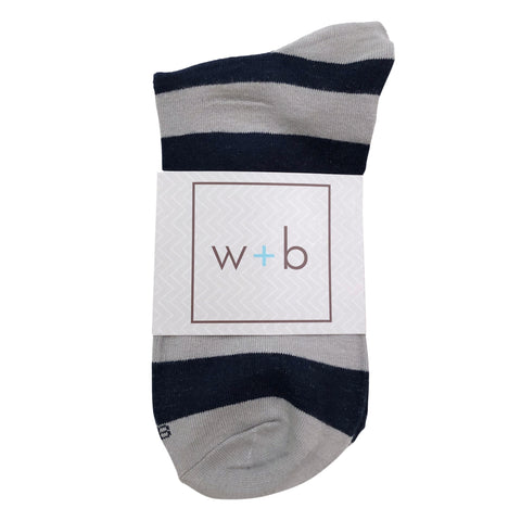 Men's Premium Stretch CottonPoly Over-The-Calf Navy + Gray Striped Dress Socks