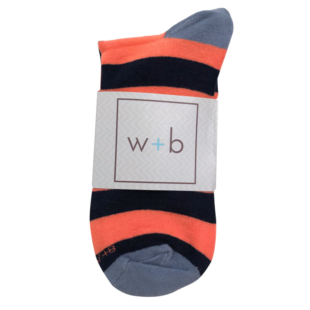 Men's Premium Stretch CottonPoly Over-The-Calf Navy + Coral Striped Dress Socks