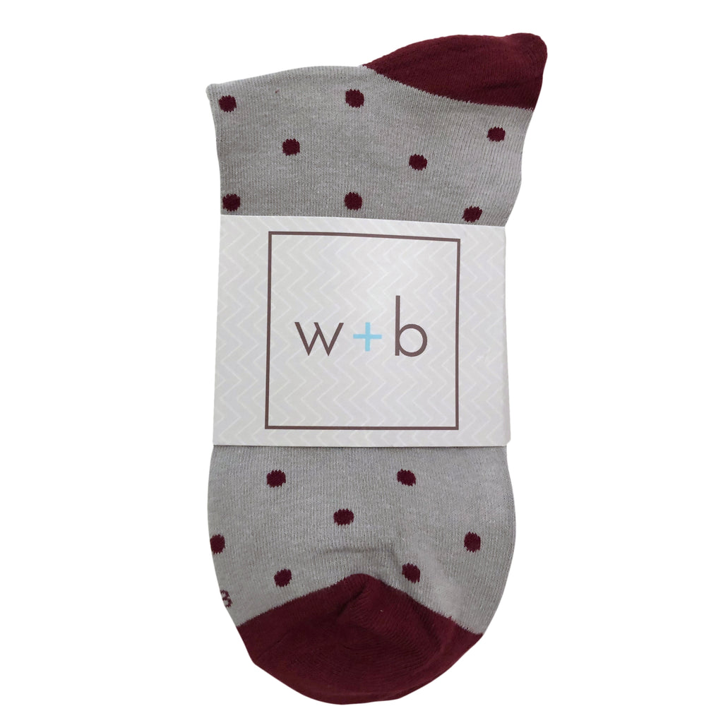 Men's Premium Stretch CottonPoly Over-The-Calf Beet + Gray Polka Dot Dress Socks