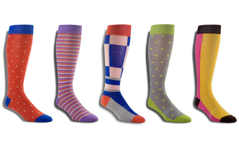 Men's Premium Stretch 5 Pack CottonPoly Over-The-Calf Dress Socks - Limited Edition