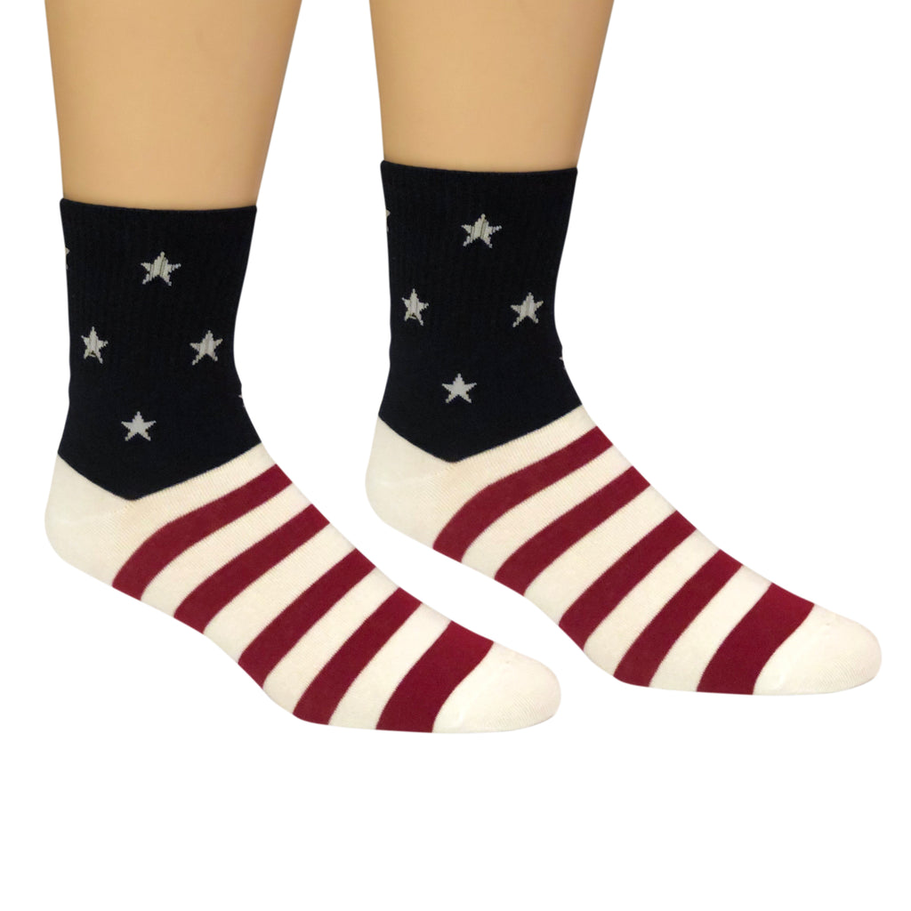 Men's Premium Stretch CottonPoly American Flag Crew Socks