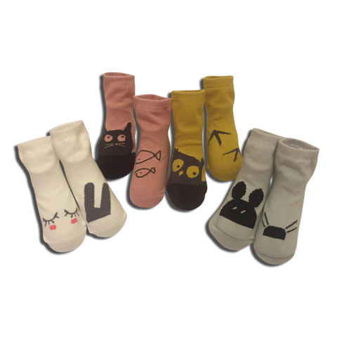 4 pack Baby No Slip Animal Socks