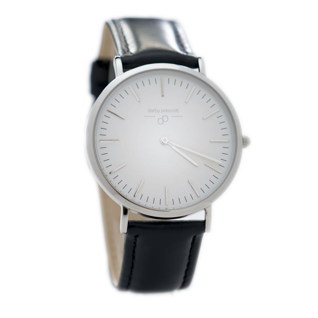 Silver Darby Prescott Watch with Black Band
