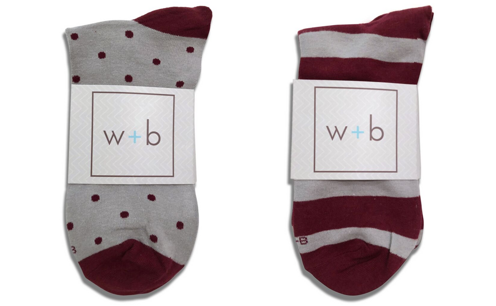 Mens Premium Stretch CottonPoly 2-Pack Beet Gray Over-The-Calf Dress Socks