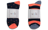 Mens Premium Stretch CottonPoly 2-Pack Navy Coral Over-The-Calf Dress Socks