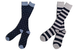 Mens Premium Stretch CottonPoly 2-Pack Navy Gray Over-The-Calf Dress Socks