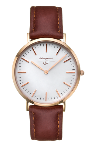 Rose Gold Darby Prescott Watch with Brown Band