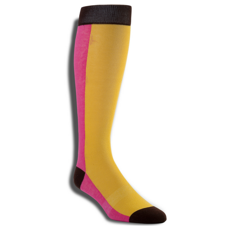 Men's Premium Stretch CottonPoly Over-The-Calf Pink Mustard Dress Socks