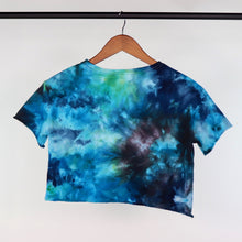 Load image into Gallery viewer, XS Raw Edge Cropped Blue Green Galaxy Tee