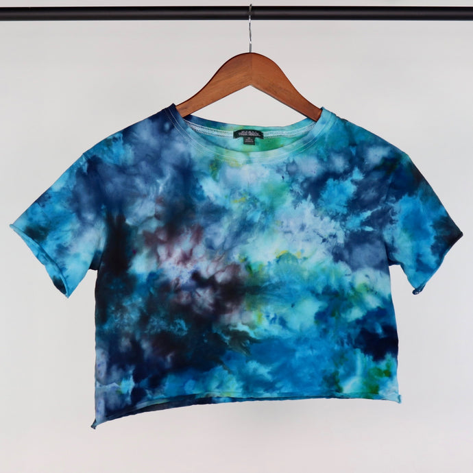 XS Raw Edge Cropped Blue Green Galaxy Tee