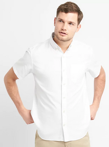 Large Short Sleeve Stretch Oxford Button Down