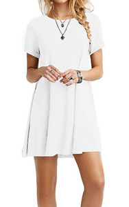 Small Crew Neck Pocket Swing Dress