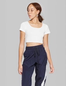 Large Scoop Neck Ribbed Crop Top