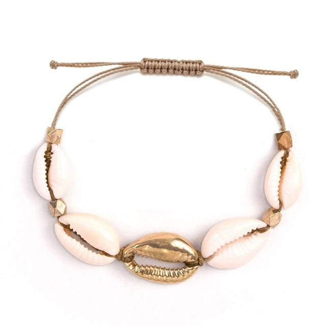 Bracelet cauri naturel et or