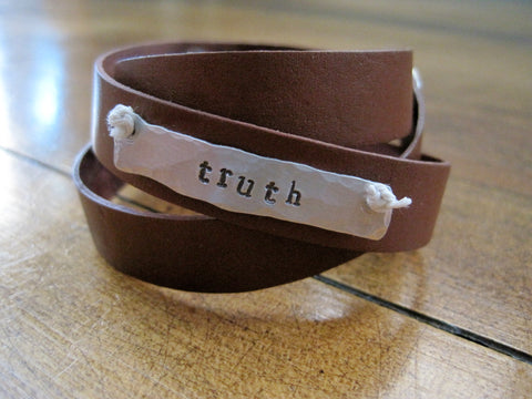 tell the truth wrap leather bracelet